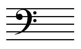 五線とヘ音記号の関係